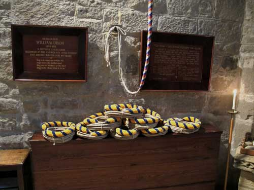 The new ropes coiled in the church on public display
