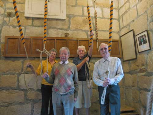 The new ropes ready for ringing with Jan, Jeff, Kath and Brian.